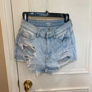 BDG light wash high rise ripped jean shorts